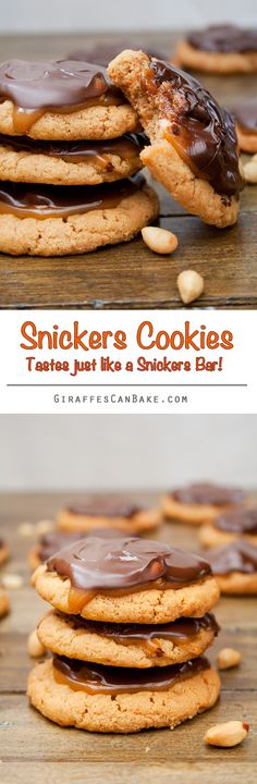 Snickers Cookies - Crumbly, flourless peanut butter cookies with gooey, chewy caramel and peanuts, topped with chocolate. They taste like a snickers bar, but better!