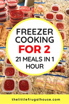 This freezer cooking for 2 plan will help you get ahead of dinnertime, and make meals in bulk to save you time and money. You will love having dinner ready every night with little effort. I'll show you how to make 21 meals for 2 in just 1 hour! Bulk Cooking, Cooking For One, Cooking On A Budget, Freezer Cooking, Cooking Recipes, Cooking Fish, Cooking Steak, Cooking Games, Healthy Recipes