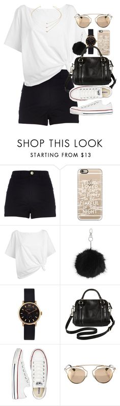 """""""Outfit for summer with a white top and black shorts"""" by ferned ❤ liked on Polyvore featuring River Island, Casetify, Red Herring, Topshop, Marc by Marc Jacobs, Merona, Converse, Christian Dior and Forever 21"""