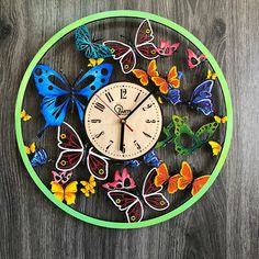 No home is complete without a beautiful clock. Stylish and versatile, this clock is the perfect living room or office centerpiece and a wonderful gift for Handmade Wall Clocks, Cool Clocks, Unique Wall Clocks, Handmade Home Decor, Wall Clock Design, Clock Wall, Wall Art, Kitchen Wall Clocks, Diy Clock
