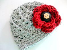 Ohio State Women's, OSU Buckeye Crochet Hat - Made to Order - Scarlet and Gray, Buckeye Button. $32.00, via Etsy.