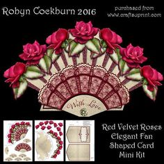 Red Velvet Roses Elegant Fan Shaped Card Mini Kit by Robyn Cockburn An elegantly detailed card with a fan shaped front and layered floral edge. The kit contains card front, shaped backing, decoupage layers, a variety of greeting labels to suit many different occasions and the card base (back and insert). Card is approx. 20cm x 13cm when closed. Instructions are included on the sheets.