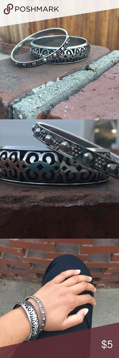 Silver-Plated Bracelets These classy silver bracelets are fun to dress up with! They are larger than average and go well with any outfit! Jewelry Bracelets