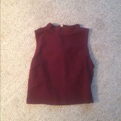Lord & Taylor Maroon Crop Top Maroon, worn once ( as seen in picture) , medium , 62% Rayon , 33% Nylon , 5% Spandex . Lord & Taylor Tops Crop Tops