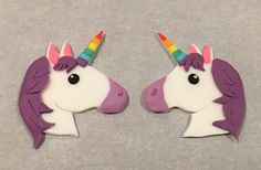 Emoji Unicorn Cupcake toppers made of fondant by Play Date Cupcakes in Hawaii.