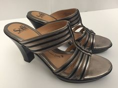 Sofft Sandals 8 1/2 Bronze Strappy Metallic Heels Dressy Holiday Slip Ons Shoes #Sfft #Strappy #Party