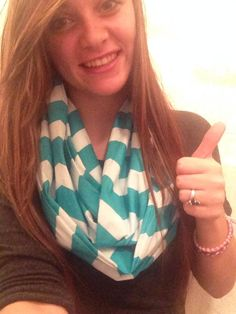 Tiffany Blue Chevron Infinty Scarf. $16
