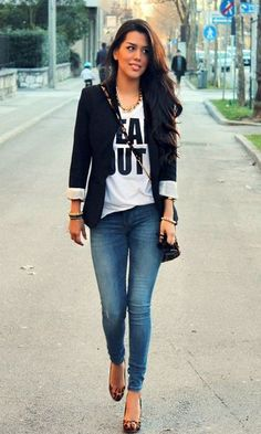 Look T-shirt & Jeans: Blazer