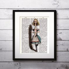 Alice in Wonderland vintage art print  Printable  by BOOKPRINTSS