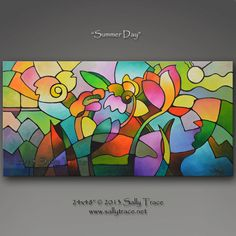 """""""Summer Day"""" Original Painting by Sally Trace - Sally Trace Abstract Paintings http://www.sallytrace.com/summer-day.html"""