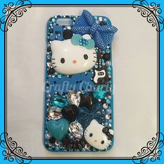 "Thought I'd whip myself up a new iPhone 6 case to go on holiday with :) this is a ""Rock N Rebellion"" design variation. Custom orders are available without hello kitty due to copyright #craftycharly #badcookie #newmakes #madeinyorkshire #decoden #hellokitty #rockphonecase #iphone6 #iphonecase #decoden #handmade #blue #black"