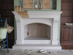 Faux Finish Cast Stone Fireplaces Stone Fireplace Mantel, Paint Fireplace, Stone Fireplaces, Faux Painting, Cozy Living Rooms, New Homes, It Cast, Reno Ideas, Studio