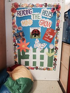Spring Bulletin Board or reading makes the mind blossom