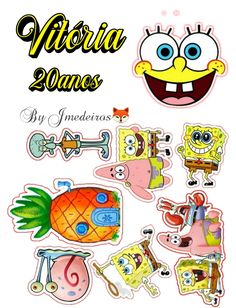 Cool Stickers, Printable Stickers, Spongebob Crafts, Drippy Cakes, Spongebob Painting, Spongebob Birthday Party, Bfg, Cute Drawings, Cake Toppers