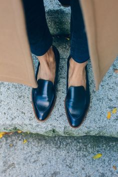 Fall loafers and camel coat.