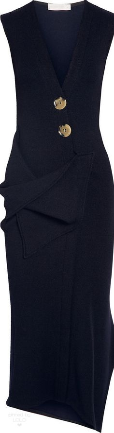 Victoria Beckham Draped Stretch Wool Midi Dress | LOLO❤