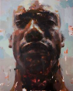 """Haze"" - Jerome Lagarrigue {contemporary #expressionist art figurative African-American black male head abstraction man face portrait texture grunge painting}"