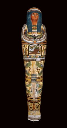 British Museum - The painted cartonnage case of Nesperennub, priest of ancient Egypt Ancient Egyptian Artifacts, Ancient Symbols, Ancient History, Egyptian Crafts, Egyptian Mummies, Egyptian Party, Egypt Mummy, Modern Egypt, Pyramids Egypt