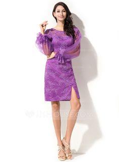 Vestido tubo Escote redondo Hasta la rodilla Tul Encaje Baile de promoción con Apertura frontal Cascada de volantes (016050400)