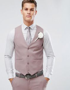 ASOS Wedding Skinny Suit Vest In Mink - Purple