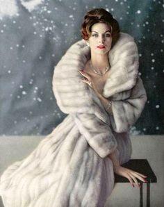 Anne St. Marie in natural beige-lavande 'Arcturus' EMBA mink coat by Ben Kahn, jewelry by Cartier, photo by Virginia Thoren, 1959