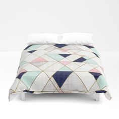 Buy Mod Triangles - Navy Blush Mint Duvet Cover by crystalwalen. Worldwide shipping available at Society6.com. Just one of millions of high quality products available.