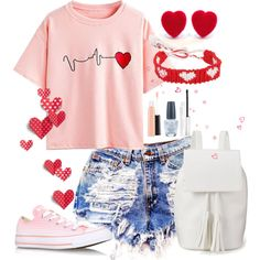 Hearts.Hearts.Hearts by annetkor on Polyvore featuring мода, WithChic, Converse, Candie's, Marc Jacobs, MAC Cosmetics, OPI, cute, hearts and denimshorts