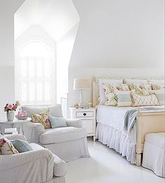 In an almost all-white room, hints of pale blue and pink go a long way to add feminine flair! http://www.bhg.com/decorating/decorating-photos/bedroom/feminine-retreat/?socsrc=bhgpin020515feminineretreat&bedroom