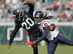 Nov 13, 2016; Jacksonville, FL, USA; Jacksonville Jaguars cornerback Jalen Ramsey (20) draws the flag for interfering with Houston Texans wide receiver DeAndre Hopkins (10) during the second quarter of a football game at EverBank Field.  (3718×2753)