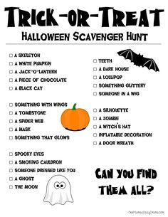 Free printable Halloween scavenger hunt for kids | One Mama's Daily Drama