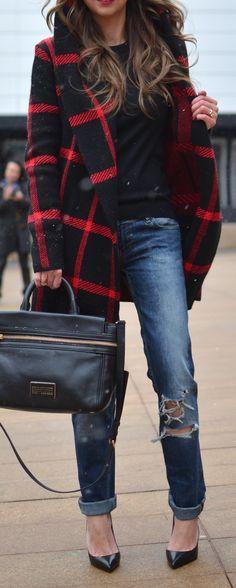 #fall #outfits / tartan jacket + denim