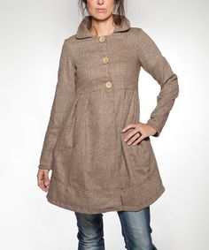 Look at this Brown Spigot Wool-Blend Jacket on #zulily today!