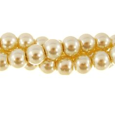 8mm Glass Pearl Round Bead Strand, Crystal Champagne