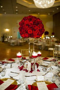 Erin & Nick | Wedding in Tampa Bay | Red rose tall centerpiece. #andrealaynefloraldesign #tampaweddings