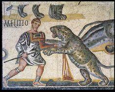 Battle of gladiators against the wildcats, detail depicting a gladiator running through a wildcat, 320 AD (mosaic), Roman, (4th century AD) / Galleria Borghese, Rome, Italy / Alinari / The Bridgeman Art Library