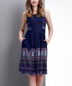 Look what I found on #zulily! Navy Marquee Sleeveless Fit & Flare Dress by Reborn Collection #zulilyfinds
