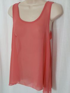 TINLEY Pink Sheer Blouse M Shell Tank Top Scoop Neck Sleeveless