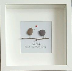 Handmade Wedding or Engagement gift, Pebble Art Framed Personalised Bride Groom