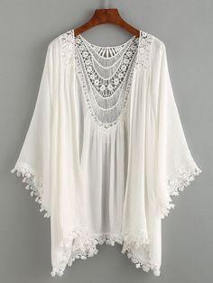 Lace Trimmed Crochet Insert Kimono - White | MakeMeChic.COM