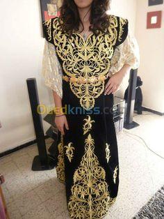 "Gandoura ""fergani"", robe traditionnelle de Constantine (Algérie) brodée de fil…"