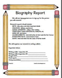 From TEACH123 - FREE  Blog post giving tips for organizing biography reports.   FREE forms.