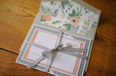 Beautiful mint & peach wedding invitation suite by http://clarkcreativewi.com