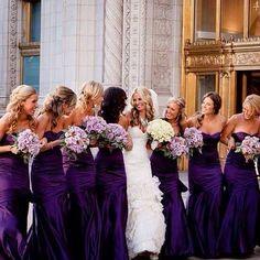 Purple bridesmaid dresses - I'll admit I'm obsessed with purple bridesmaids. Wedding Robe, Wedding Attire, Wedding Bridesmaids, Wedding Dresses, Bridesmaid Color, Bridesmaid Gowns, Dark Purple Bridesmaid Dresses, Bridesmade Dresses, Perfect Wedding
