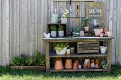 Craftberry Bush   Potting Bench and a Garden Sign   https://www.craftberrybush.com