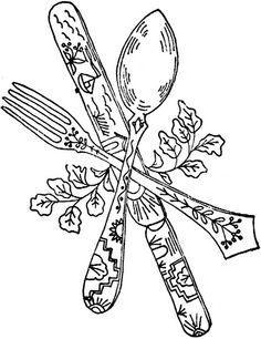 Dishes and silverware embroidery patterns