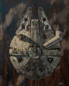 Star Wars: Approach by Dave Seeley - Millennium Falcon Star Wars Fan Art, Star Trek, Star Citizen, Images Star Wars, Nave Star Wars, Star Wars Painting, Fantasy Star, Star Wars Spaceships, Star Wars Vehicles