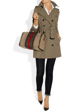 Burberry trench coat, white shirt, rolled-up skinny jeans, black pointed pumps, Gucci Boston leather-trimmed monogram canvas tote bag from NET-A-PORTER.COM - The perfect outfit for the office