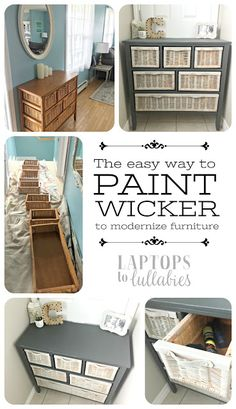 Laptops to Lullabies: Grey is the new orange // How to paint #wicker furniture the EASY way without a million coats.