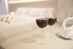 Little details in our Suite - Canyamel Park Hotel & Spa  #Wine #Room #Suite #Bed #Romantic #Hotel #Canyamel #Capdepera #Mallorca Spa Hotel, Red Wine, Alcoholic Drinks, Rooms, Glass, Bedrooms, Alcoholic Beverages, Drinkware, Liquor