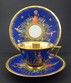 Outstanding Vintage Dresden 3 Pc. Tea Cup, Saucer & Plate